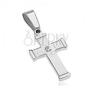 Lśniąca stalowa zawieszka srebrnego koloru, krzyż z bezbarwną cyrkonią obraz