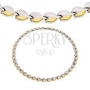 Stalowy naszyjnik z magnesami, zaokrąglone elementy srebrnego i złotego koloru obraz