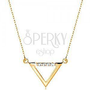 Naszyjnik z żółtego 14K złota - kontur trójkąta ozdobiony przezroczystymi cyrkoniami obraz