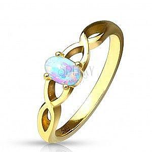 Stalowy pierścionek w złotym kolorze - syntetyczny opal z tęczowymi refleksami, splecione ramiona obraz