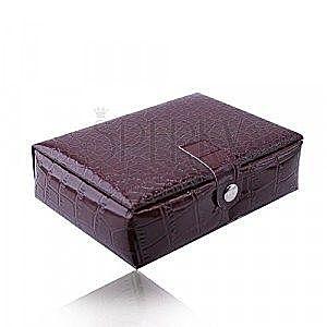 Prostokątne pudełeczko na biżuterię w kolorze bordowym - imitacja skóry krokodyla, zapięcie na napy obraz