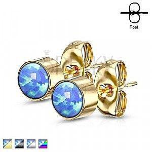 Kolczyki ze stali chirurgicznej - syntetyczny niebieski opal w oprawie, zapięcie na sztyft, 3 mm obraz