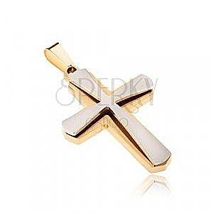 Wisiorek ze stali chirurgicznej, złoty i mniejszy srebrny krzyż obraz