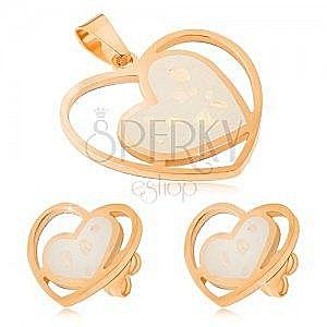 Zestaw ze stali złotego koloru - kolczyki i wisiorek, kremowe serca obraz