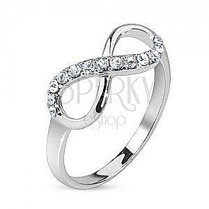Srebrny pierścionek, symbol nieskończoności ozdobiony przezroczystymi kamyczkami obraz