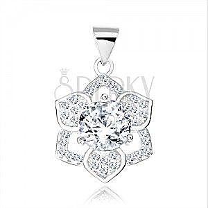 Srebrny 925 wisiorek, okrągła przezroczysta cyrkonia, kwiatek o sześciu płatkach obraz