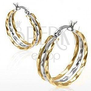 Okrągłe kolczyki ze stali, złoty i srebrny odcień, faliste linie obraz
