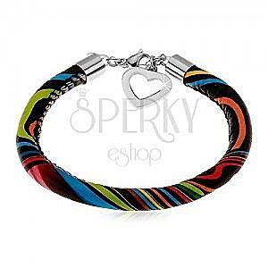 Czarna skórzana bransoletka z nieregularnymi barwnymi liniami, serduszko obraz