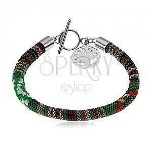 Zielona bransoletka owinięta kolorowymi nićmi, stalowa zawieszka - drzewo życia obraz