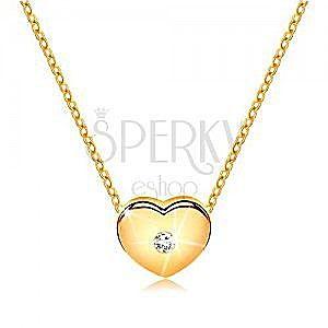 Brylantowy naszyjnik z żółtego 14K złota - serce z bezbarwnym diamentem, łańcuszek obraz