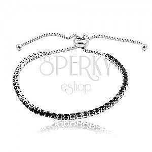 Stalowa bransoletka srebrnego koloru, linia okrągłych czarnych cyrkonii obraz