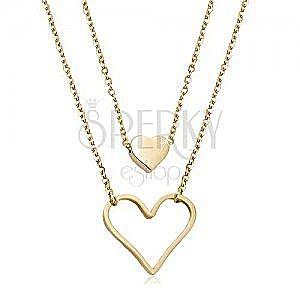 Stalowy naszyjnik złotego koloru, małe pełne serce, duży zarys serca, dwa łańcuszki obraz