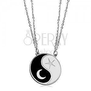 Stalowy naszyjnik, dwa łańcuszki, czarno-biały symbol Jin i Jang, księżyc i gwiazda obraz