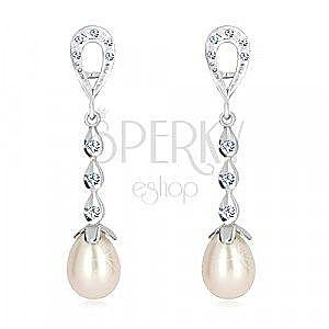 Kolczyki z białego 9K złota - kontur łzy, trzy krople z cyrkoniami, biała perła obraz