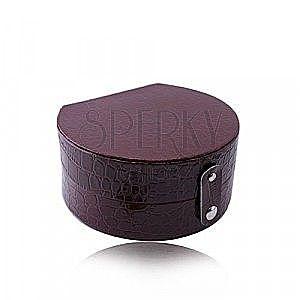 Bordowe pudełko na biżuterię - imitacja skóry krokodyla, półokrągły kształt, zapięcie na napy obraz