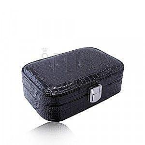 Pudełko ze sztucznej skóry czarnego koloru - wzór krokodyla, prostokątny kształt, klamra obraz