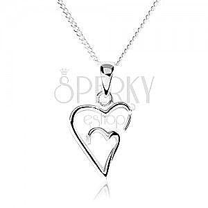 Srebrny naszyjnik 925, podwójny zarys asymetrycznego serca obraz