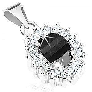 Zawieszka ze srebra 925, czarny cyrkoniowy owal z przezroczystym błyszczącym konturem obraz