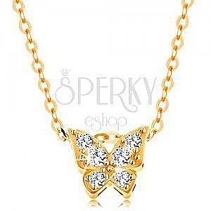 Złoty 14K naszyjnik - lśniący łańcuszek, motyl ozdobiony przezroczystymi cyrkoniami obraz