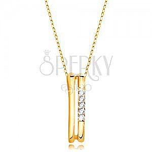 Naszyjnik z żółtego 14K złota - dwa cienkie pionowe paski, linia przezroczystych cyrkonii obraz