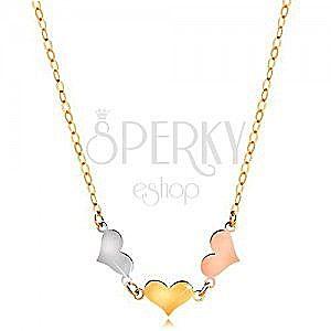 Naszyjnik z 14K złota - trzy symetryczne płaskie serca w trzech odcieniach złota obraz