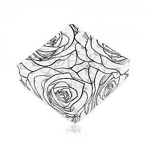 Pudełeczko na kolczyki lub dwa pierścionki, czarny wzór róży na białym tle obraz