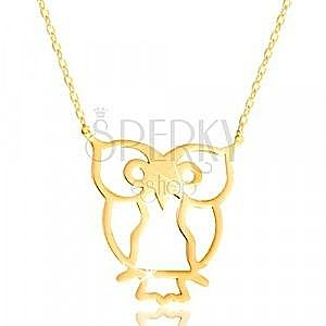 Naszyjnik z żółtego złota 585 - sowa symbol mądrości, lśniący cienki łańcuszek obraz