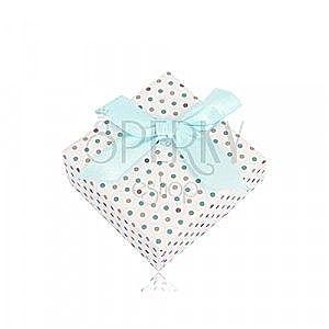 Kropkowane prezentowe pudełeczko na pierścionek lub kolczyki z jasnoniebieską kokardką obraz