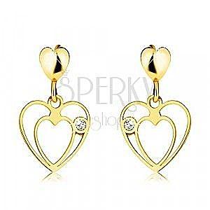 Kolczyki ze złota 375 - trzy lśniące serca, okrągła cyrkonia, sztyfty obraz