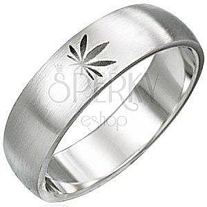 Stalowy pierścionek motyw marihuana obraz