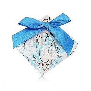 Pudełeczko prezentowe na pierścionek lub kolczyki - hibiskus, ciemnoniebieska kokardka obraz