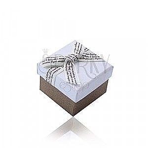 Biało-brązowe prezentowe pudełeczko na pierścionek lub kolczyki - kremowa kokardka z brązowym napisem obraz