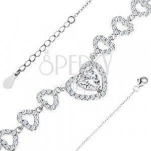 Srebrna bransoletka 925, drobne ogniwa łańcuszka, lśniące serduszka z przezroczystymi cyrkoniami obraz