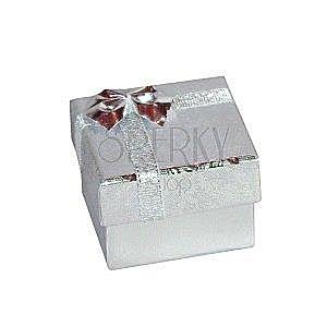 Pudełeczko na kolczyki - srebrne lśniące róże, kokardka, 50 mm obraz