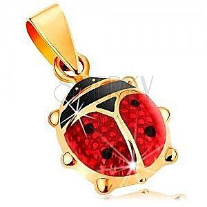 Złota 585 zawieszka - większa wypukła biedronka pokryta czerwoną i czarną emalią obraz