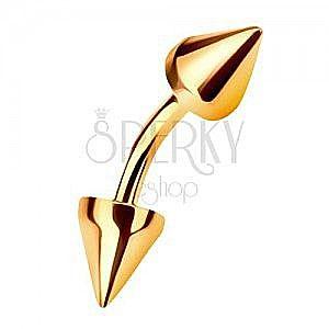Złoty 9K piercing do brwi zakończony dwoma stożkami obraz