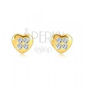 Kolczyki z żółtego 9K złota - symetryczne serce z czterema cyrkoniami, wkręty obraz