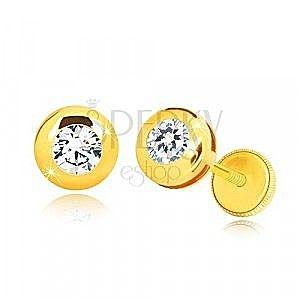 Kolczyki z żółtego 14K złota - lustrzano lśniące kółko z przezroczystą cyrkonią, wkrętka z gwintem obraz