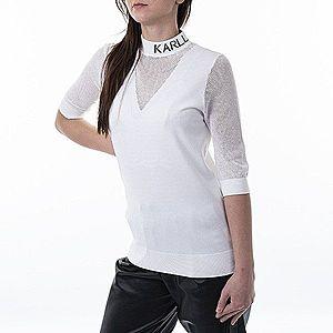 Koszulka damska Karl Lagerfeld Pointelle Logo Mock-Neck 201W2009 110 obraz