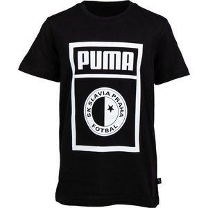 Puma SLAVIA PRAGUE GRAPHIC TEE JR ciemnoszary 128 - Koszulka dziecięca obraz