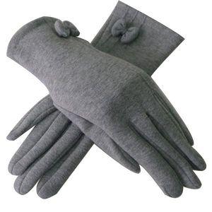 Szare rękawiczki damskie obraz