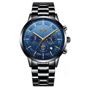 Zegarek LIGE Steel - Czarny/Niebieski KP4055 obraz