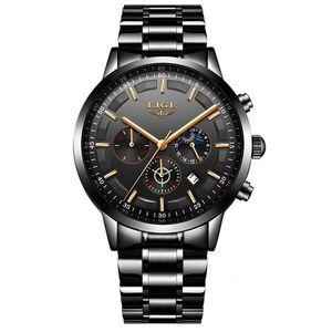 Zegarek LIGE Steel - Czarny/Złoty KP4056 obraz